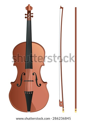 Classic violin with fiddle stick on white background - stock vector