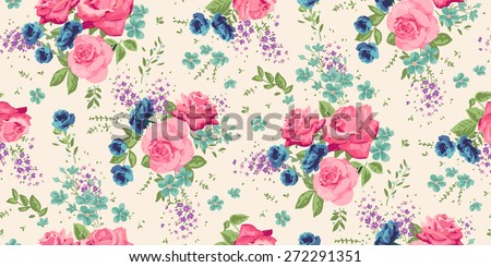 Classic wallpaper seamless vintage flower pattern background  - stock vector