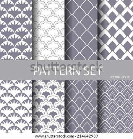 classic wave vector seamless patterns set. Endless texture can be used for wallpaper, pattern fills, web page background,surface textures. - stock vector