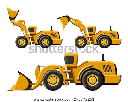 Classic wheel loader set. Flat style icon. Isolated vector illustration without gradients - stock vector