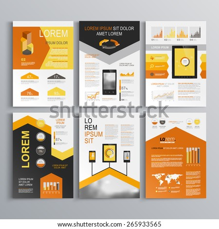 Classic white brochure template design with black and orange arrows. Cover layout and infographics - stock vector