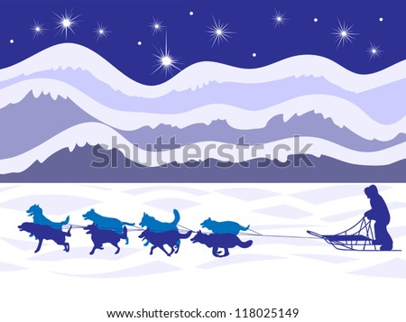 Classic winter sight in the frozen north, a musher and dog sled team fly gracefully across the frozen tundra. EPS 8 compatible, all layers labeled for easy editing. - stock vector