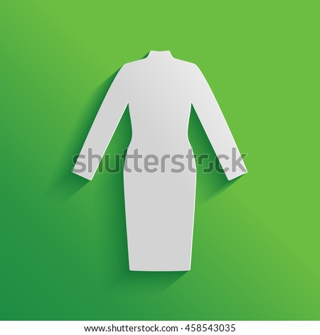 Classic woman dress with long sleeves the silhouette. Menu item in the web design.