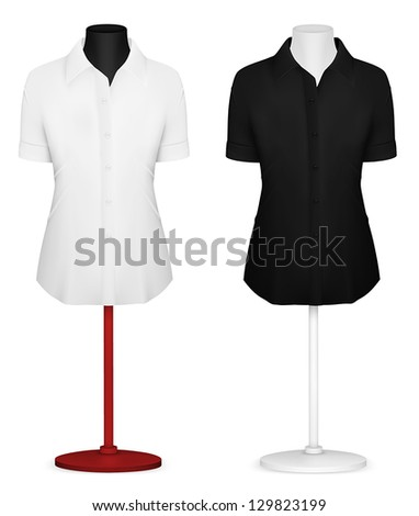 Classic women's plain blouse template. - stock vector