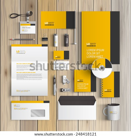 Letterhead template stock images royalty free images vectors classic yellow corporate identity template design with black vertical line business stationery spiritdancerdesigns Choice Image
