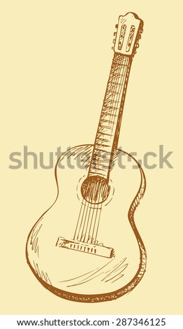 Classical acoustic guitar. Vector monochrome freehand linear ink drawn backdrop sketch in art antique scrawl style pen on paper. View close-up with space for text - stock vector