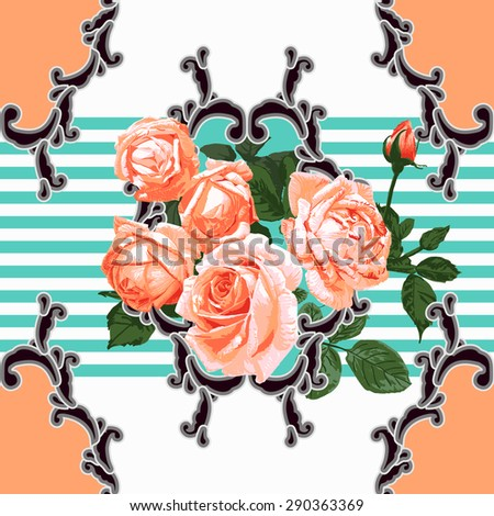 Classical and modern mixed style pattern, hand-painted realistic rose pattern vector - stock vector