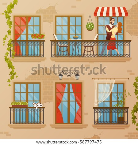 Set cute balconies cartoon stock vector 307192463 for Balcony cartoon