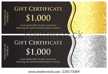 Classical black gift certificate with victorian decoration - stock vector