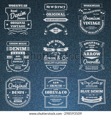 Classical blue denim jeans typography logo emblems limited edition graphic design icons collection abstract isolated vector illustration. Editable EPS and Render in JPG format - stock vector