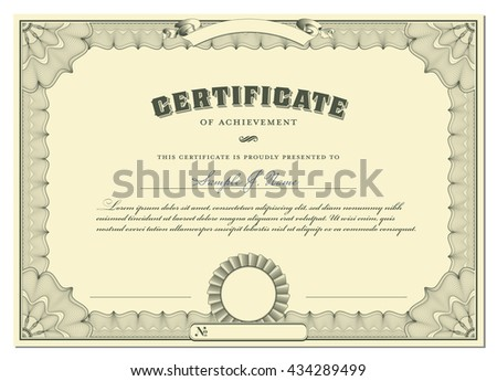 classical certificate with guilloche border, add. elements - stock vector