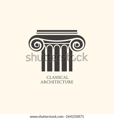 Classical column architecture element. - stock vector