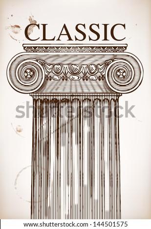 Classical column background - stock vector