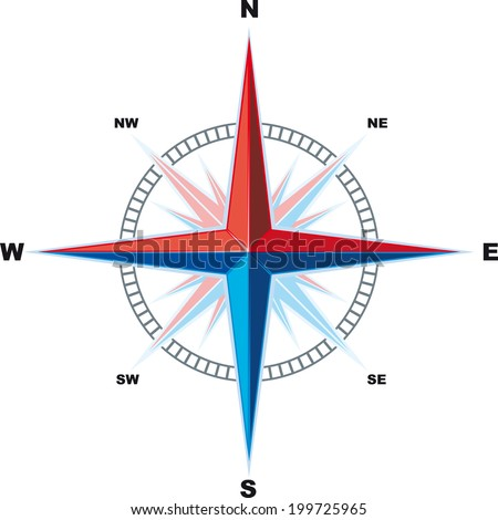 Classical Compass Wind rose isolated on a white background is. Indicating the cardinal - stock vector