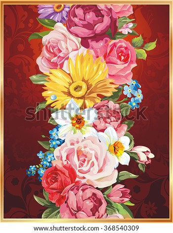 Classical congratulation card with roses. Vector frame with Place for your text - stock vector