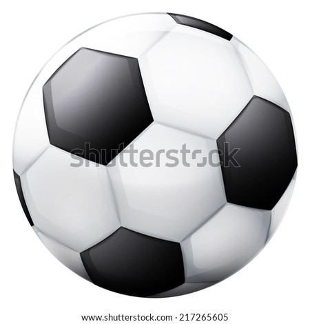 classical football ball 3D object isolated vector illustration - stock vector