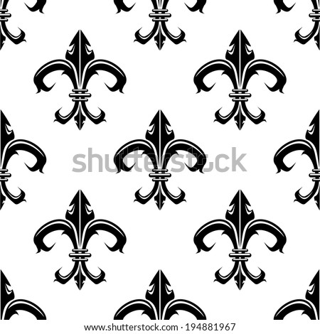 Classical French Black White Fleurdelys Seamless Stock Vector