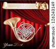 Classical French horn on a red velvet curtain background - stock photo