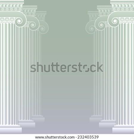 Classical greek or roman columns. Vector illustration. Easy editable background color - stock vector