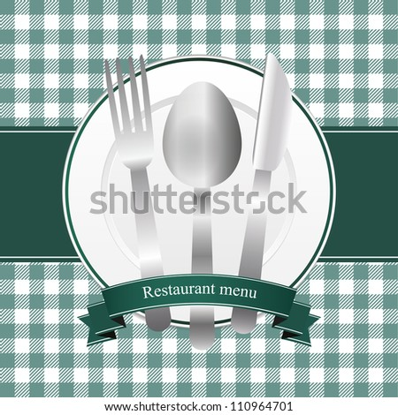 Classical green restaurant menu design - stock vector