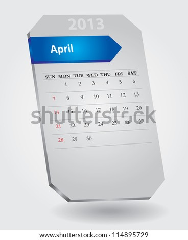 Classical monthly calendar for April, 2013 - stock vector