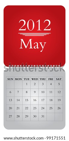 Classical monthly calendar for 2012, May - vector - stock vector