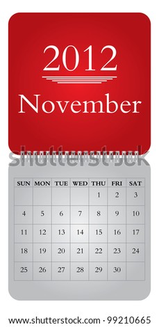 Classical monthly vector calendar for 2012, November - stock vector