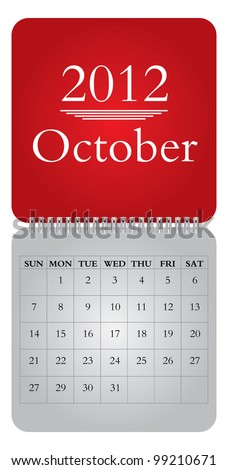 Classical monthly vector calendar for 2012, October - stock vector