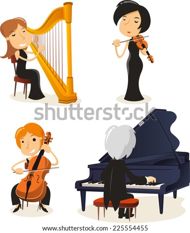 Classical music string musicians - stock vector