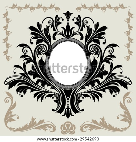 classical oval frame - stock vector