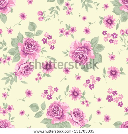 classical roses seamless background - stock vector