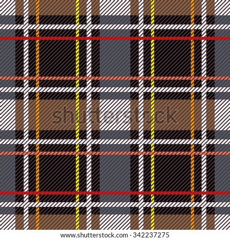 Classical Scottish checkered plaid. Seamless vector pattern with diagonal hatching. Retro folk textile collection. Grey, brown, black with red and yellow stripes. Backgrounds & textures shop. - stock vector