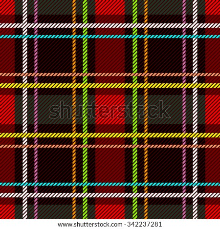 Classical Scottish checkered plaid. Seamless vector pattern with diagonal hatching. Retro folk textile collection. Red, brown, black with white and yellow stripes. Backgrounds & textures shop. - stock vector
