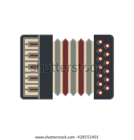Classical vector bayan ,accordion, harmonic, jew's-harp. Musical instrument. Flat cartoon illustration isolated on white background.
