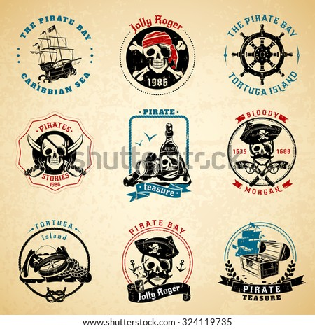 Classical vintage caribbean sea pirate stories symbols emblems old paper printed icons set abstract isolated vector illustration - stock vector