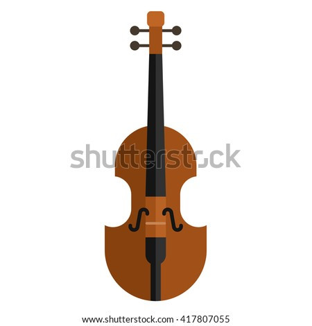 Classical violin. Isolated musical instrument on white background. Vector illustration in flat style design - stock vector