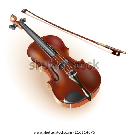 Classical violin, isolated on white background. Fully editable vector - stock vector