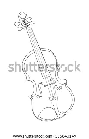 Classical violin - isolated on white background illustration - stock vector