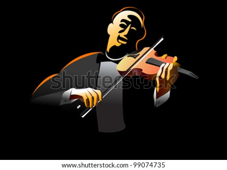Classical violinist / performing art  - stock vector