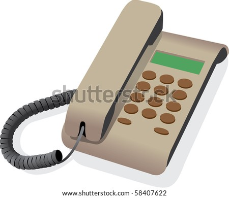 classical wired telephone - vector illustration - stock vector
