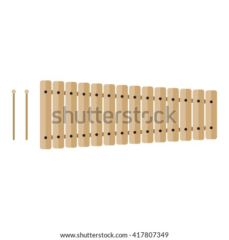 Classical wooden xylophone with mallets, isolated on white background. Flat vector illustration