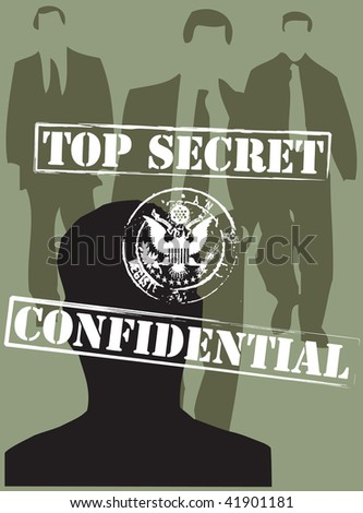 Classified information in the economy, politics, ethics. - stock vector