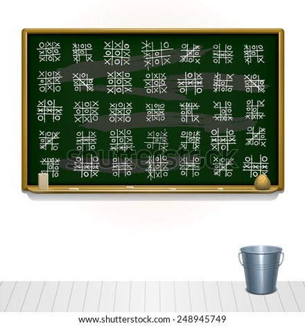 Classroom chalk board filled with tic tac toe session - stock vector