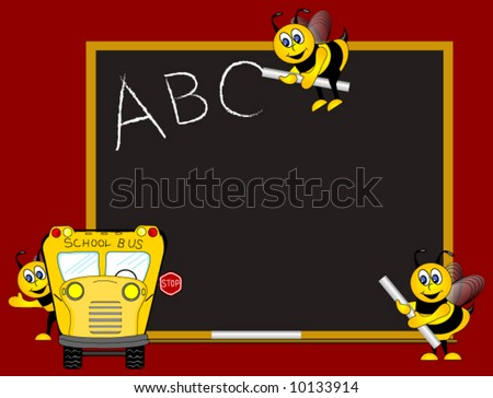 Classroom chalk board, School Bus and bees, Education Vector Illustration.