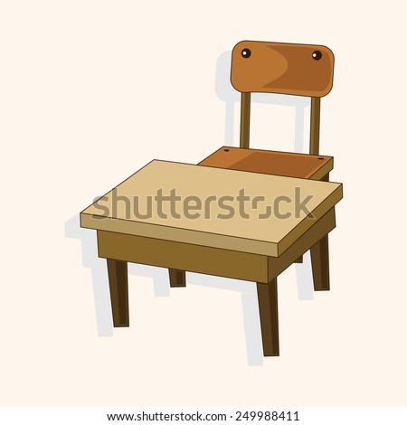 classroom desk and chair theme elements vector,eps - stock vector