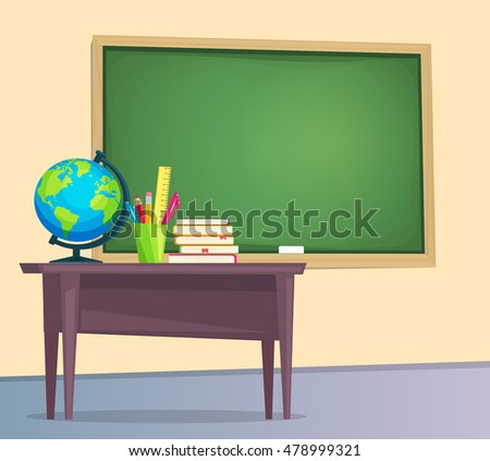 classroom table vector. classroom with green chalkboard, teachers desk. vector illustration flat style. table o