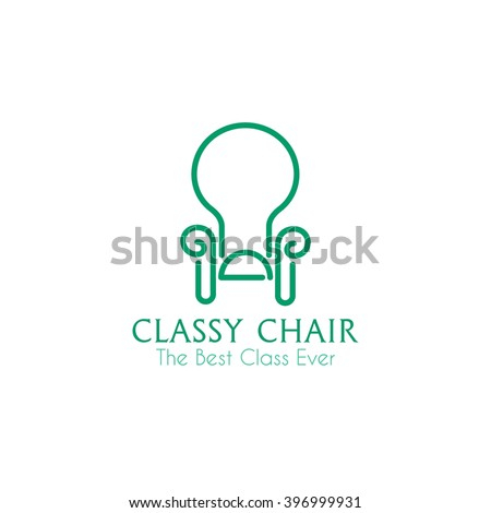 classy chair logo design. Classy chair business sign vector template for furniture store  home decor boutique design Chair Business Sign Vector Template Stock 396999931