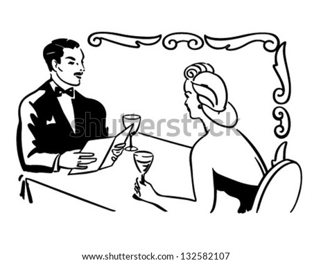 classy couple dining retro clip art stock vector 132582107 rh shutterstock com