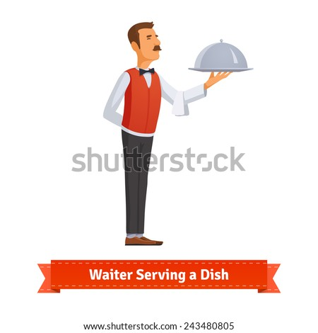 Classy waiter in a bow-tie serving a dish in a silver platter with lid. Flat style illustration.  - stock vector