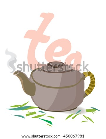 Clay teapot with handle vector illustration. Kettle for tea ceremonies